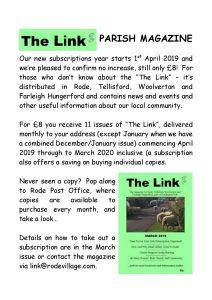 The Link - Parish Magazine subscriptions due