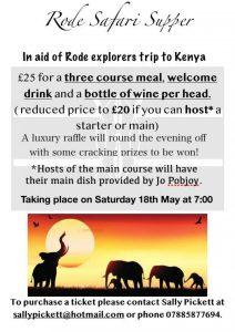 Rode Safari Supper - In aid of Rode Explorers' trip to Kenya